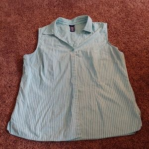 Basic editions blue&white striped button down top
